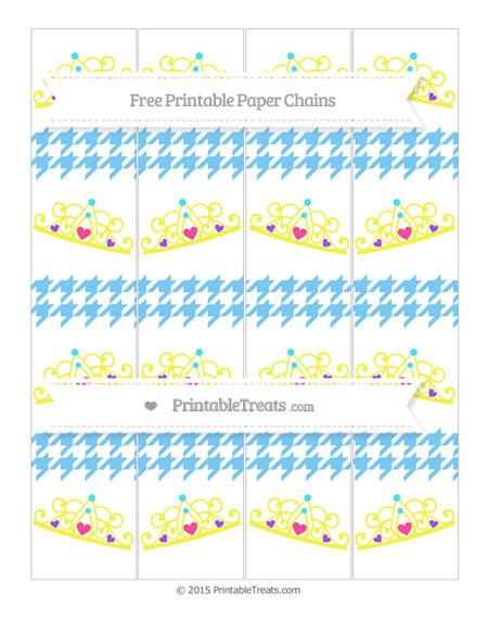 Free Pastel Light Blue Houndstooth Pattern Princess Tiara Paper Chains