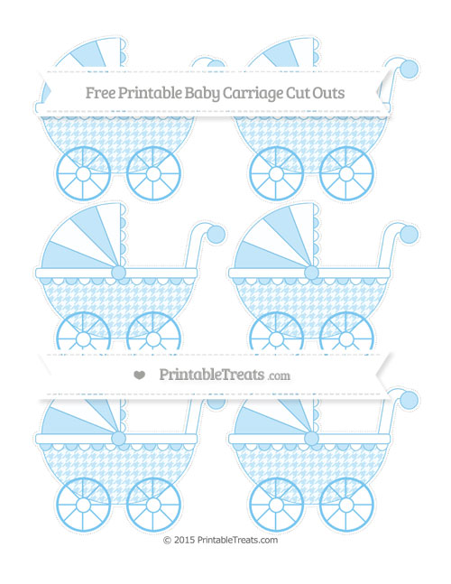 Free Pastel Light Blue Houndstooth Pattern Small Baby Carriage Cut Outs