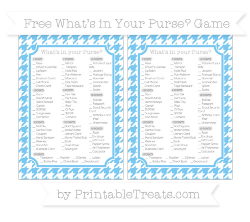 Free Pastel Light Blue Houndstooth Pattern What's in Your Purse Baby Shower Game