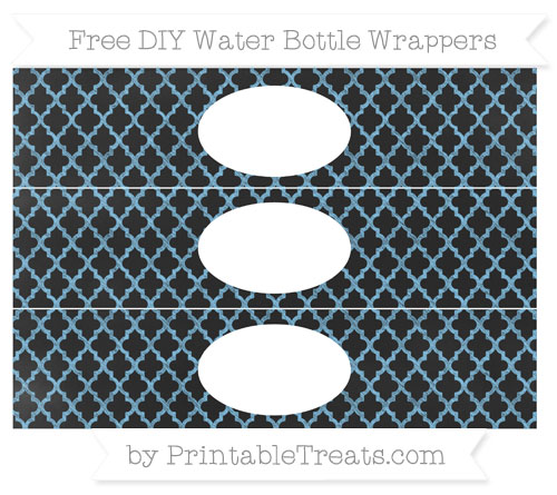 Free Pastel Light Blue Moroccan Tile Chalk Style DIY Water Bottle Wrappers