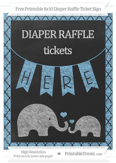 Free Pastel Light Blue Moroccan Tile Chalk Style Elephant 8x10 Diaper Raffle Ticket Sign