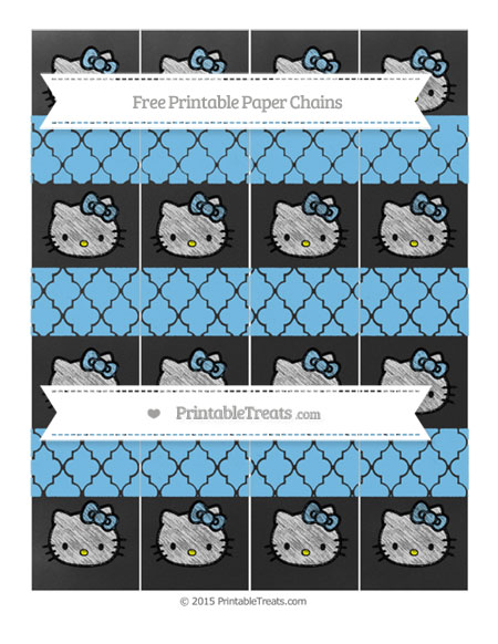 Free Pastel Light Blue Moroccan Tile Chalk Style Hello Kitty Paper Chains