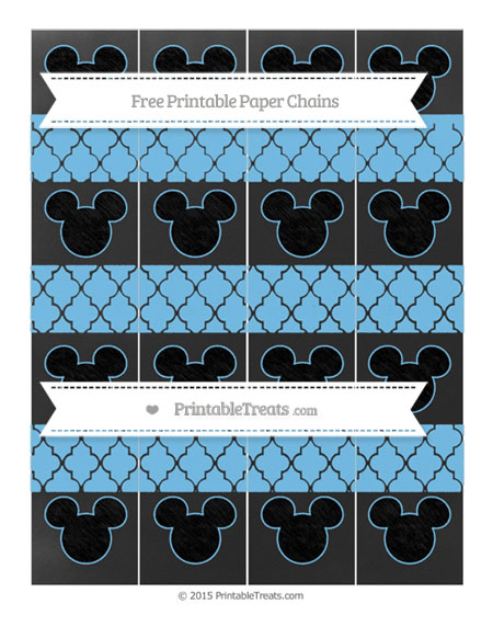 Free Pastel Light Blue Moroccan Tile Chalk Style Mickey Mouse Paper Chains
