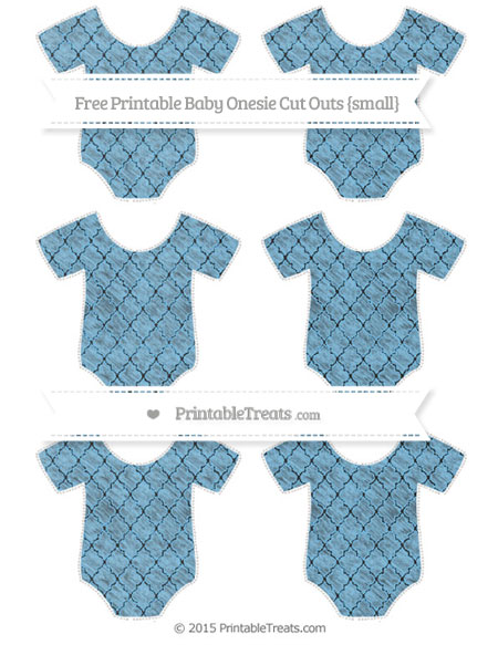 Free Pastel Light Blue Moroccan Tile Chalk Style Small Baby Onesie Cut Outs