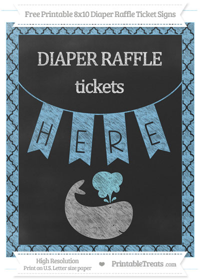 Free Pastel Light Blue Moroccan Tile Chalk Style Whale 8x10 Diaper Raffle Ticket Sign
