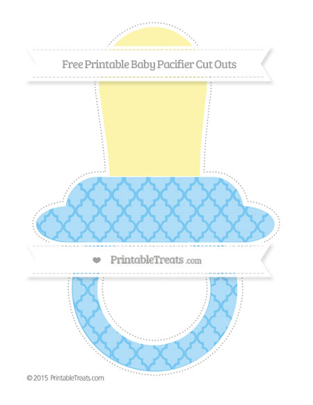 Free Pastel Light Blue Moroccan Tile Extra Large Baby Pacifier Cut Outs