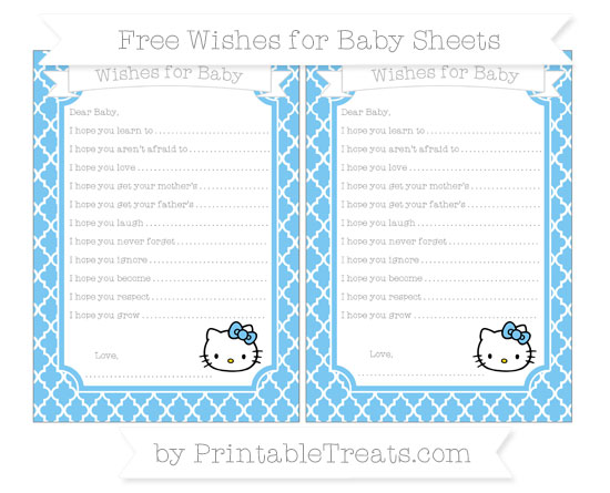 Free Pastel Light Blue Moroccan Tile Hello Kitty Wishes for Baby Sheets