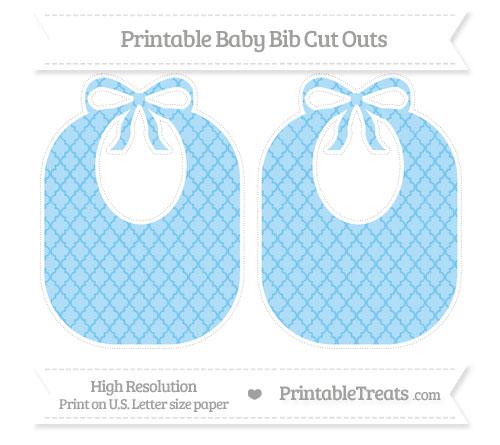 Free Pastel Light Blue Moroccan Tile Large Baby Bib Cut Outs