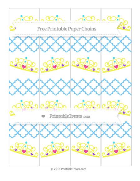 Free Pastel Light Blue Moroccan Tile Princess Tiara Paper Chains