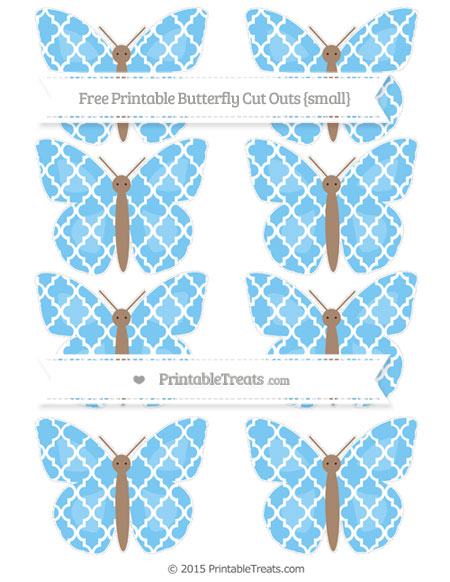 Free Pastel Light Blue Moroccan Tile Small Butterfly Cut Outs