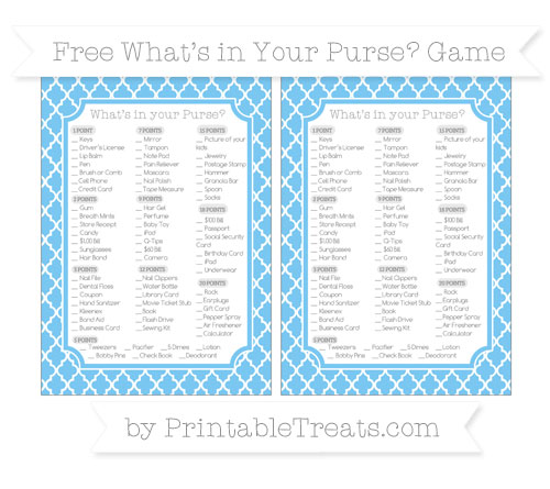 Free Pastel Light Blue Moroccan Tile What's in Your Purse Baby Shower Game