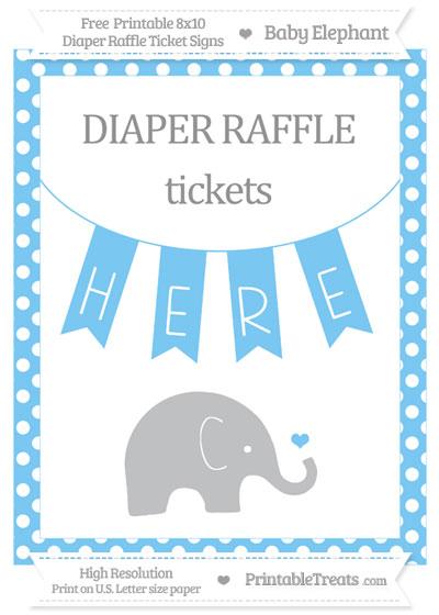 Free Pastel Light Blue Polka Dot Baby Elephant 8x10 Diaper Raffle Ticket Sign