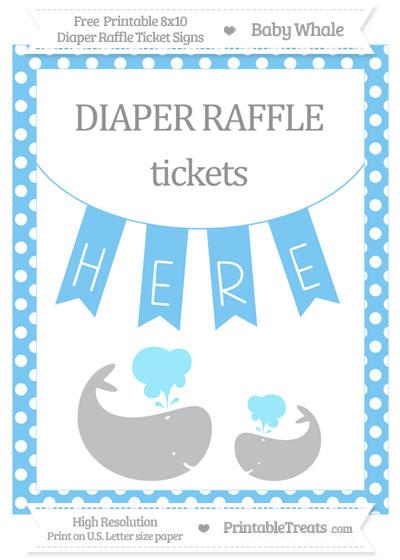 Free Pastel Light Blue Polka Dot Baby Whale 8x10 Diaper Raffle Ticket Sign