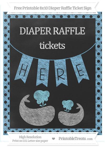 Free Pastel Light Blue Polka Dot Chalk Style Baby Whale 8x10 Diaper Raffle Ticket Sign