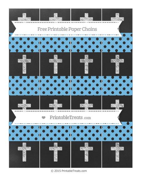 Free Pastel Light Blue Polka Dot Chalk Style Cross Paper Chains