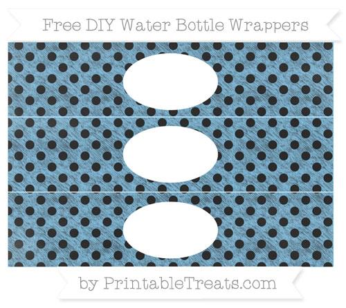 Free Pastel Light Blue Polka Dot Chalk Style DIY Water Bottle Wrappers