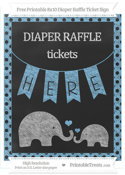 Free Pastel Light Blue Polka Dot Chalk Style Elephant 8x10 Diaper Raffle Ticket Sign