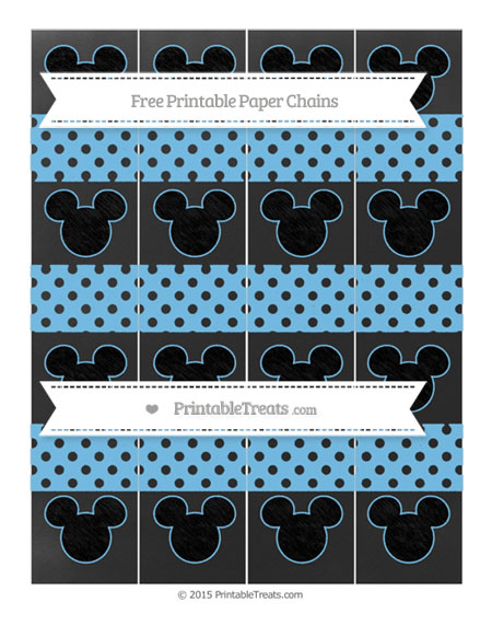 Free Pastel Light Blue Polka Dot Chalk Style Mickey Mouse Paper Chains