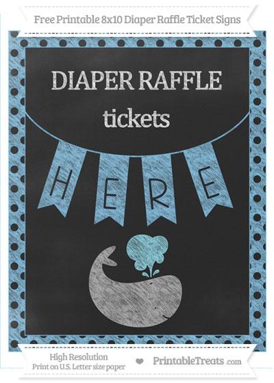 Free Pastel Light Blue Polka Dot Chalk Style Whale 8x10 Diaper Raffle Ticket Sign