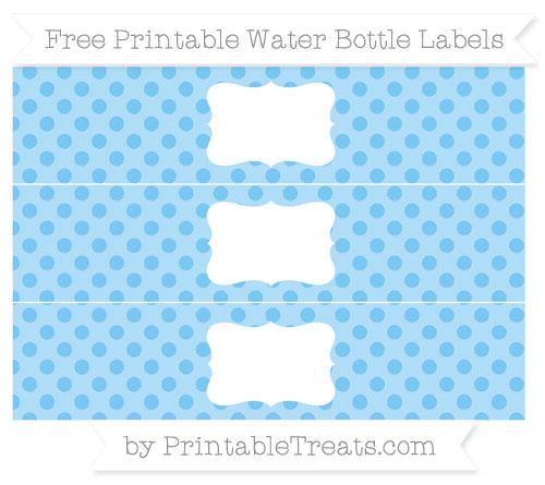 Free Pastel Light Blue Polka Dot Water Bottle Labels
