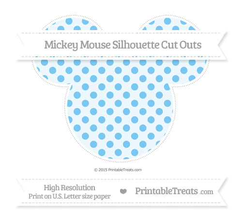 Free Pastel Light Blue Polka Dot Extra Large Mickey Mouse Silhouette Cut Outs