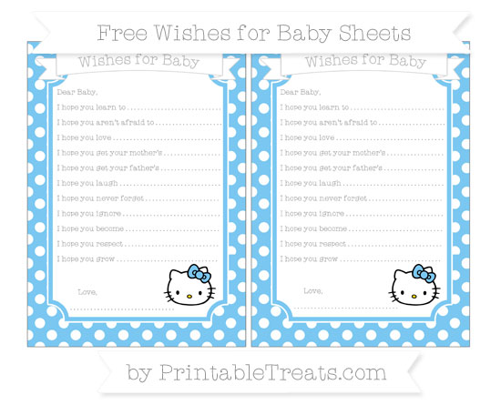 Free Pastel Light Blue Polka Dot Hello Kitty Wishes for Baby Sheets