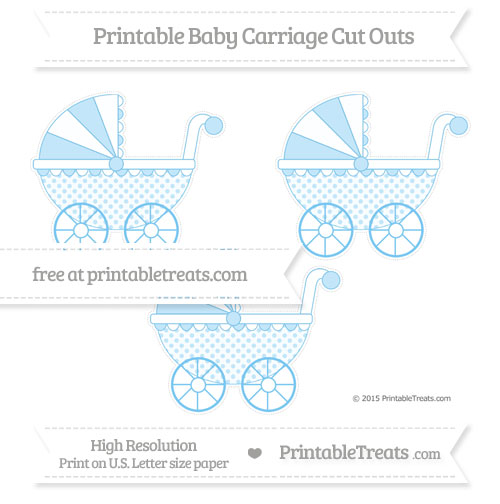 Free Pastel Light Blue Polka Dot Medium Baby Carriage Cut Outs