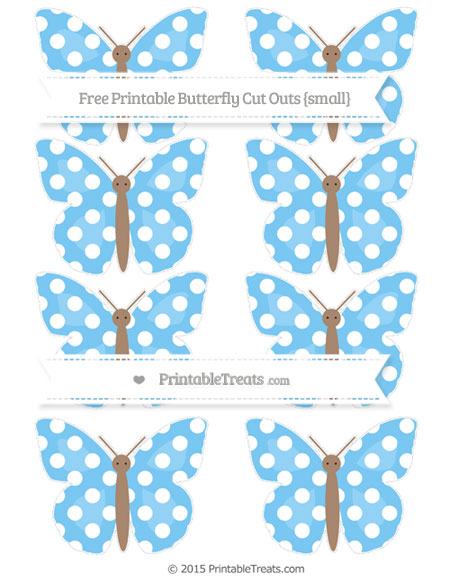 Free Pastel Light Blue Polka Dot Small Butterfly Cut Outs