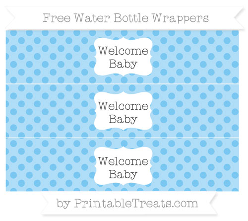 Free Pastel Light Blue Polka Dot Welcome Baby Water Bottle Wrappers