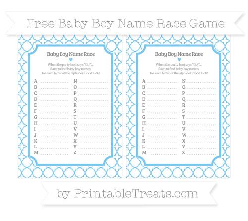 Free Pastel Light Blue Quatrefoil Pattern Baby Boy Name Race Game