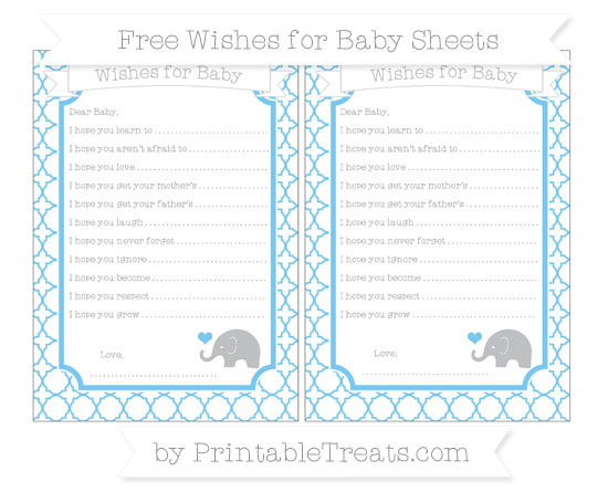 Free Pastel Light Blue Quatrefoil Pattern Baby Elephant Wishes for Baby Sheets