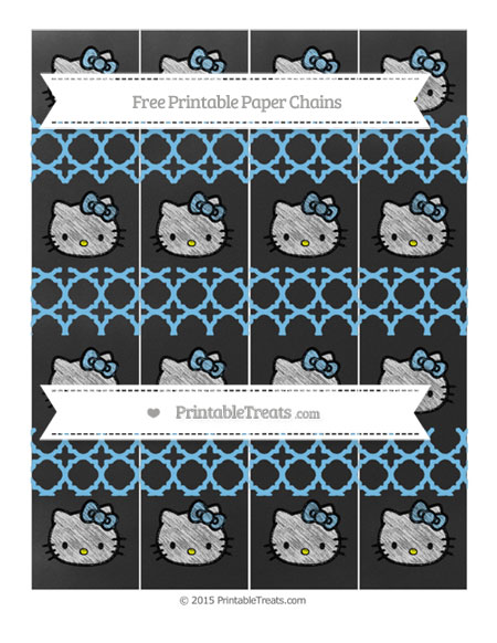 Free Pastel Light Blue Quatrefoil Pattern Chalk Style Hello Kitty Paper Chains
