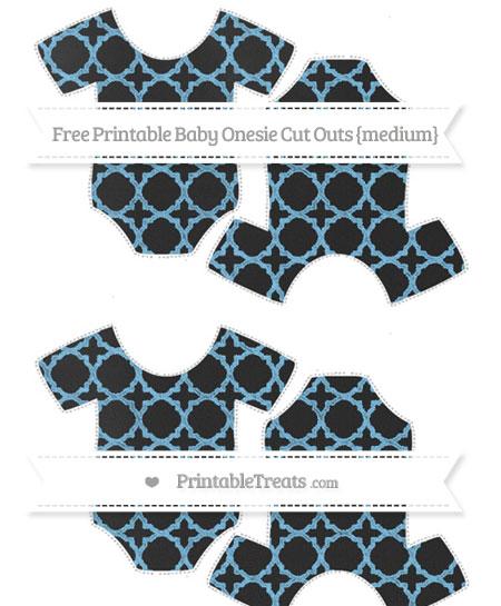 Free Pastel Light Blue Quatrefoil Pattern Chalk Style Medium Baby Onesie Cut Outs
