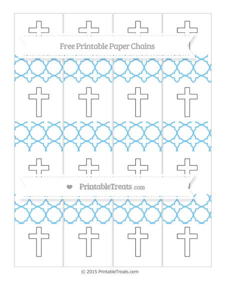 Free Pastel Light Blue Quatrefoil Pattern Cross Paper Chains