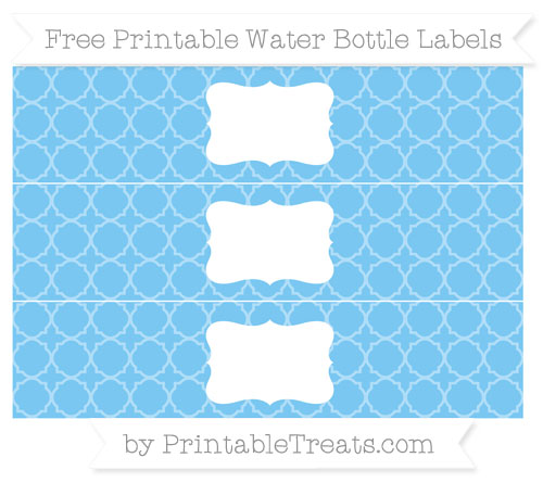 Free Pastel Light Blue Quatrefoil Pattern Water Bottle Labels