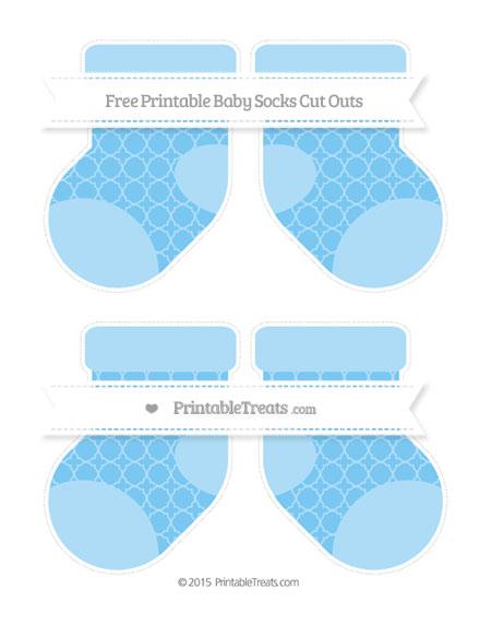 Free Pastel Light Blue Quatrefoil Pattern Medium Baby Socks Cut Outs