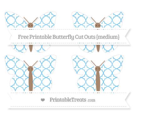 Free Pastel Light Blue Quatrefoil Pattern Medium Butterfly Cut Outs