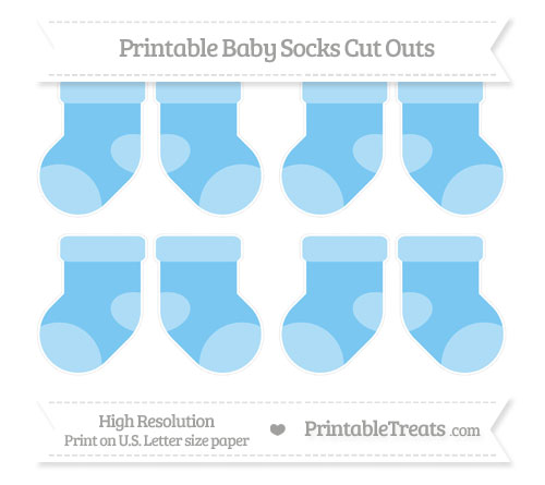 Free Pastel Light Blue Small Baby Socks Cut Outs