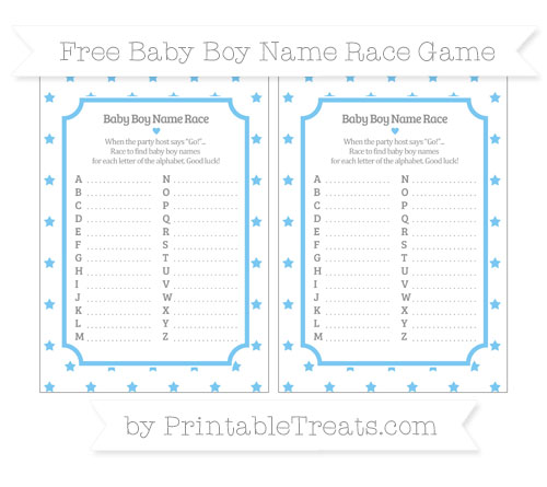 Free Pastel Light Blue Star Pattern Baby Boy Name Race Game