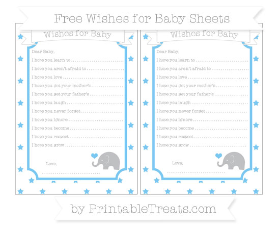 Free Pastel Light Blue Star Pattern Baby Elephant Wishes for Baby Sheets