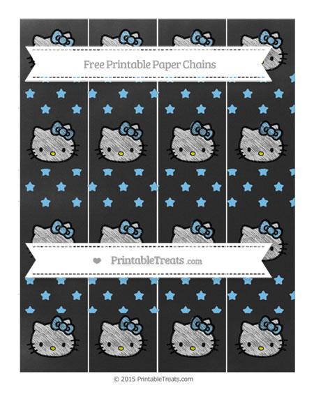 Free Pastel Light Blue Star Pattern Chalk Style Hello Kitty Paper Chains