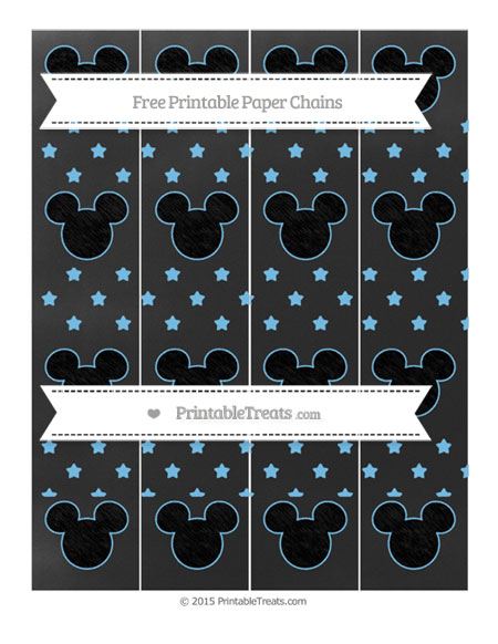 Free Pastel Light Blue Star Pattern Chalk Style Mickey Mouse Paper Chains
