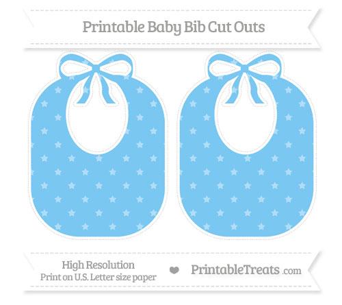 Free Pastel Light Blue Star Pattern Large Baby Bib Cut Outs