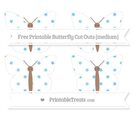 Free Pastel Light Blue Star Pattern Medium Butterfly Cut Outs