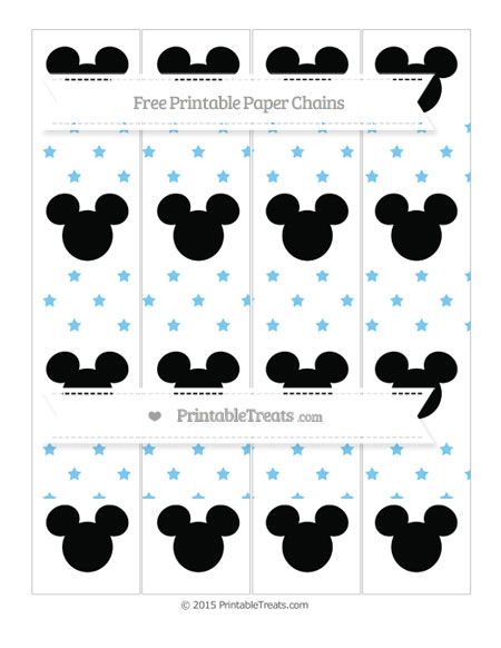 Free Pastel Light Blue Star Pattern Mickey Mouse Paper Chains