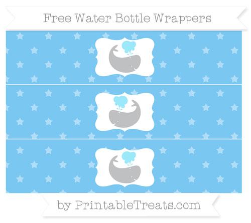 Free Pastel Light Blue Star Pattern Whale Water Bottle Wrappers