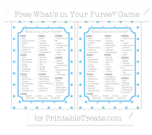 Free Pastel Light Blue Star Pattern What's in Your Purse Baby Shower Game