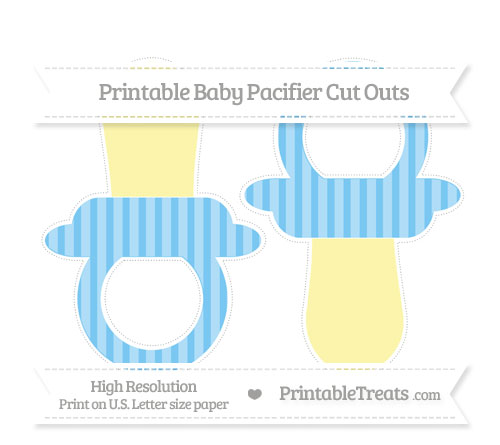 Free Pastel Light Blue Striped Large Baby Pacifier Cut Outs