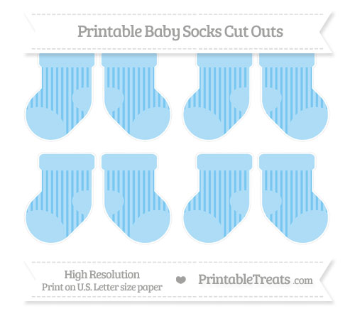 Free Pastel Light Blue Striped Small Baby Socks Cut Outs