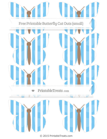 Free Pastel Light Blue Striped Small Butterfly Cut Outs